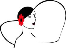 Silhouette of a ladies head. With her hat on and red flower Stock Image