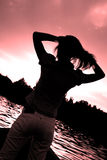 Silhouette of a lady stock images