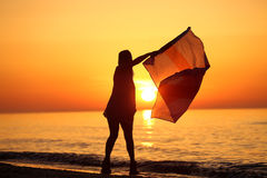 Silhouette of a lady dancing with a flag Stock Image