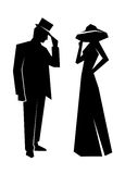 Silhouette of the lady and gentleman Stock Photos