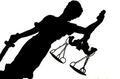 Silhouette of Lady Justice Stock Images