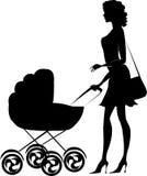 Silhouette of a lady pushing a pram. Black silhouette of a mother pushing a pram stock illustration