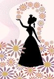 Silhouette of a lady with royal crown, throwing flowers over her head. Romantic spring motif with queen of spring in tender pink and purple. Beautiful vector illustration