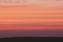 Silhouette of Land during Sunset Stock Image