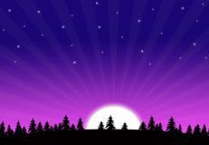 Early Morning Sky Moon Setting Royalty Free Stock Photo