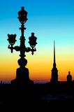 Silhouette of lantern. On the Troitsky Bridge and Peter and Paul Fortress in St. Petersburg Stock Photography