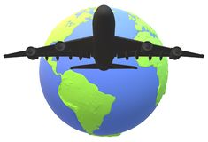 A silhouette of a large passenger jet airplane flying over a globe of the world vector illustration