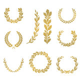 Silhouette laurel and oak wreaths in different shapes vector illustration