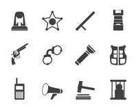 Silhouette law, order, police and crime icons Stock Photos