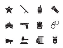 Silhouette law, order, police and crime icons Royalty Free Stock Photography