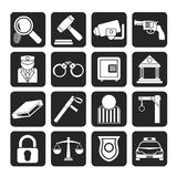 Silhouette Law, Police and Crime icons Stock Image