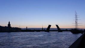 Silhouette leaf bridge across the Neva River stock footage