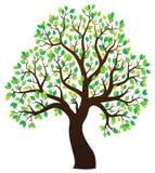 Silhouette of leafy tree theme 1 Stock Photo