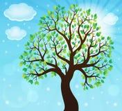 Silhouette of leafy tree theme 2 Royalty Free Stock Photo