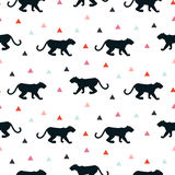 Silhouette of leopard seamless white pattern. Royalty Free Stock Images