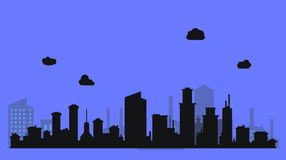 Silhouette level city with clouds and purple Royalty Free Stock Image