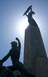 Silhouette of the Liberty Statue on the Gellért Hill, Budapest Stock Photo