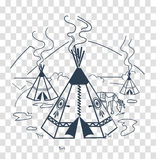 Silhouette of life indigenous people. Illustration of life indigenous people in the form of a wigwam, a deer. Icon, silhouette in the linear style stock illustration