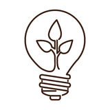 silhouette light bulb flat icon with leaf inside Stock Photography