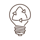 silhouette light bulb flat icon with recyled sign Stock Photography