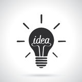 Silhouette of light bulb with the word idea and shine Stock Photos