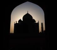 Silhouette light to Taj Mahal from the window door. Stock Photo