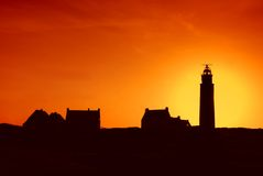 Silhouette of lighthouse Royalty Free Stock Photos