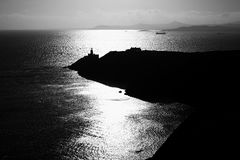 Silhouette of Lighthouse in Ireland. Near to Dublin. Black and white Royalty Free Stock Photo