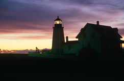 Silhouette of lighthouse at Pemaquid Head, Maine Royalty Free Stock Photography