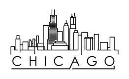 Silhouette linéaire de ville de Chicago avec la conception typographique illustration libre de droits