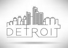 Silhouette linéaire de ville de Detroit avec la conception typographique illustration de vecteur