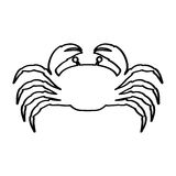 Silhouette with line contour of crab Royalty Free Stock Photography