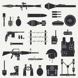 Silhouette. Line Flat Vector Military Icon Set. Army Equipment And Weapons. Cartoon Style. Assault. Soldiers. Armament Royalty Free Stock Photos