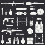 Silhouette. Line flat vector military icon set. Army equipment and weapons. Cartoon style. Assault. Soldiers. Armament Stock Photography