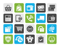Silhouette on line shop and E-commerce icons Stock Image