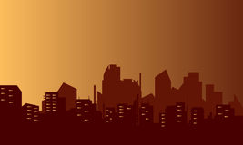 Silhouette of lined flats. At night Royalty Free Stock Image