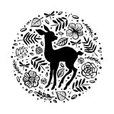 Silhouette of little baby deer, fawn in the flower pattern circl Royalty Free Stock Photography