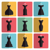 Silhouette of little black party dresses icons Royalty Free Stock Photo