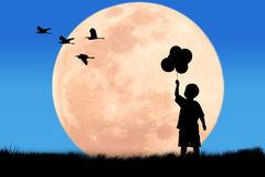 Silhouette little boy hand hold bubble Royalty Free Stock Image