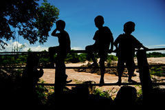 Silhouette Little boy sitting on a fence at Khone Phapheng water Stock Image