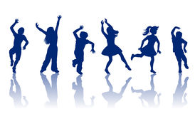 Silhouette of little boys and girl s. Boys and girls dancing and playing together Royalty Free Stock Photo