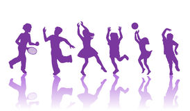 Silhouette of little boys and girls. Boys and girls dancing and playing together Royalty Free Stock Photos