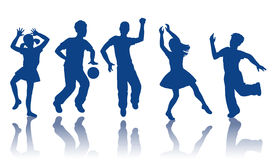 Silhouette of little boys and girls. Boys and girls dancing and playing together Royalty Free Stock Image