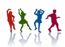 Silhouette of little boys and girls. Boys and girls dancing and playing together Stock Photos