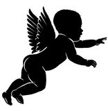 Silhouette little cupid. Angel baby silhouette with wings Stock Image