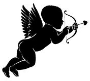 Silhouette little cupid with bow and arrow.  Stock Photos