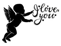 Silhouette little cupid with I love you Stock Image