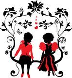 Silhouette little girl and boy with hearts Royalty Free Stock Images