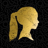 Silhouette of little girl face in gold color Royalty Free Stock Images
