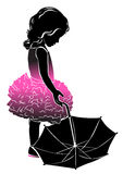 Silhouette little girl in pink with umbrella Royalty Free Stock Images